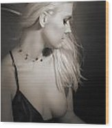 Blond Girl With Naked Breast 1287.01 Wood Print