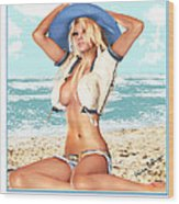 Blonde On The Beach With Opened Shirt Wood Print