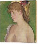 Blonde With Bare Breasts Wood Print