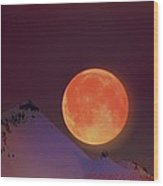 Blood  Moon  Wood Print by Jeanne  Bencich-Nations