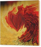 Blood Red Heart Wood Print