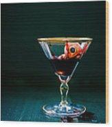 Bloody Eyeball In Martini Glass Wood Print by Edward Fielding