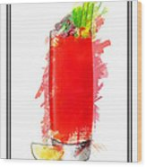 Bloody Mary Cocktail Marker Sketch Wood Print