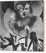 Bloomin' Kiss Vintage Art Bw Wood Print