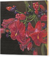 Bloomin' Red Wood Print
