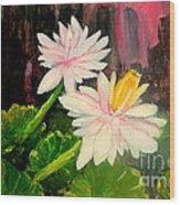 Blooming At Night  Wood Print