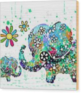 Blooming Elephants Wood Print