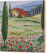 Blooming Poppy In Tuscany Wood Print