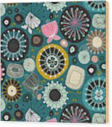 Blooms Teal Wood Print