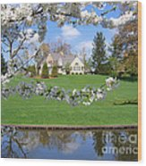 Blossom-framed House Wood Print