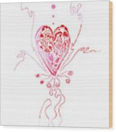 Blossoming Love Pink And Red Valentine Wood Print