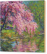 Blossoming Trees Landscape  Wood Print