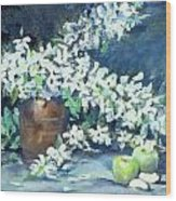 Blossoms And Apples Wood Print