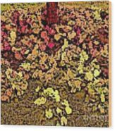 Blossoms And Tree In Yellow And Red Wood Print