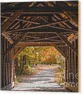 Blow-me-down Covered Bridge Cornish New Hampshire Wood Print by Edward Fielding