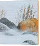 Blowing Snow And Rocks Wood Print