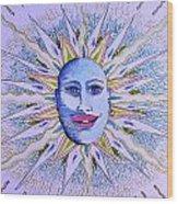 Blu Glitter Sun Wood Print