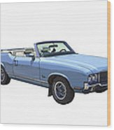 Blue 1971 Oldsmobile Cutlass Supreme Convertible Wood Print