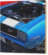 blue '69 Camaro Z28 Wood Print
