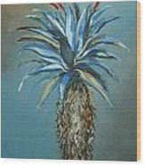 Blue Aloe With Red Flowers Wood Print