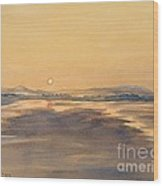 Blue Anchor Sunset Wood Print