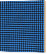 Blue And Black Checkered Pattern Cloth Background Wood Print