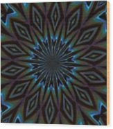 Blue And Brown Floral Abstract Wood Print