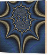 Blue And Gold Abstract Wood Print