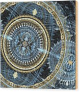 Blue And Gold Mechanical Abstract Wood Print