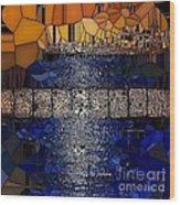 Blue And Gold Stained Abstract Wood Print