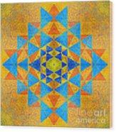 Blue And Gold Yantra Meditation Mandala Wood Print