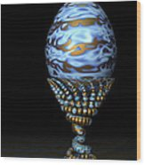 Blue And Golden Egg Wood Print