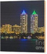 Blue And Green Diamond Twin Towers Wood Print