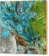 Blue And Green Glass Abstract Wood Print