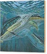 Blue And Mahi Mahi Underwater Wood Print by Terry Fox