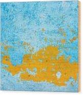 Blue And Orange Wall Texture Wood Print