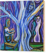Blue And Purple Girl With Tree And Owl Wood Print
