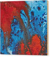 Blue And Red Abstract 3 Wood Print by Sharon Cummings