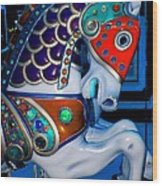 Blue And Red Carousel Horse Wood Print