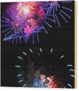 Blue And Red Firework Disks Wood Print