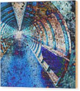 Blue And Rust Grunge Tunnel Wood Print