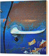 Blue And Rusty Picking Wood Print