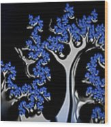 Blue And Silver Fractal Tree Abstract Artwork Wood Print