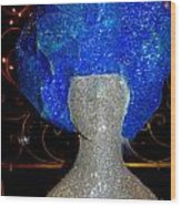 Blue And Silver Girl Wood Print