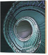 Blue And Silver Spiral Stairs Wood Print