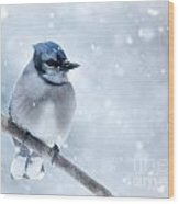 Blue And Snowy Wood Print