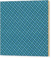 Blue And Teal Diagonal Plaid Pattern Textile Background Wood Print