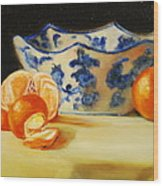 Blue And White Bowl And Tangerines Wood Print by Ann Simons