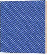 Blue And White Diagonal Plaid Pattern Cloth Background Wood Print