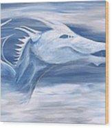 Blue And White Dragon Wood Print